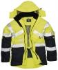 Bunda PW DUO Hi-Vis kapucňa nepremokavá reflexné pruhy HV žltá/tmavomodrá
