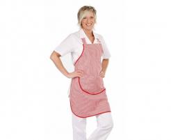 Zástera s náprsenkou CERVA VENUS 100 % bavlna vrecko tkaloun cez krk zvislé pruhy červeno/biela
