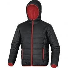 Bunda DOON do pásu rad MACH PA prešívaná zateplená kapucňa čierno/červená