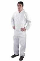 Kombinéza SHIELD DC03 polypropylén jednorazová zapínanie na zips pružné konce rukávov a nohavíc s kapucňou biela