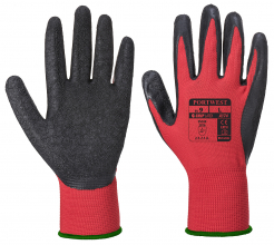 Rukavice PW Flex Grip pletené z nylonu máčané v latexe ergonomický tvar elastická manžeta červeno/čierne
