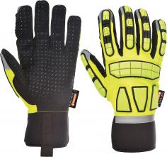 Rukavice Safety Impact syntetická koža/elastan/neoprén/PVC protinárazové nezateplené žlto/čierne