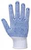 Rukavice PW Polka Dot Fortis päťprstové pletené PES / bavlna modré PVC terčíky v dlani a na prstoch pružný náplet biele