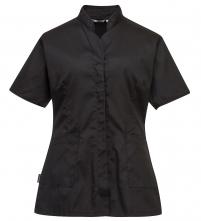 Pracovná blúzka PW Premier PES/BA dámska vypasovaná krátky rukáv šikmé nízky stojačik čierna