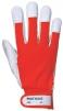 Pracovné rukavice TERGUS kombinované jemná bravčovica/bavlna červeno/sivá veľkosť 10