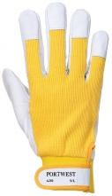 Pracovné rukavice TERGUS kombinované jemná bravčovica/bavlna žlto/sivá veľkosť 9