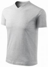 """Tričko V-neck 160 bavlna priekrčník do """"V"""" krátky rukáv svetlosivý melír"""