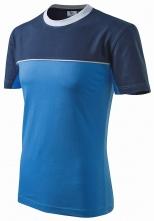 Tričko Malfini Colormix 200 bavlna okrúhly priekrčník dvojfarebné vyhotovenie azúrovomodré/tmavomodré