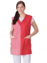 Zástera VĚRA bez rukávov dámska červeno/červená kocka veľkosť 42