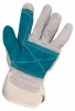 Rukavice CXS FALCO hovädzia štiepenka zosilnená v dlani a na ukazováku jednoduchá manžeta zeleno/siva