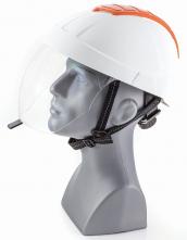 Elektrikárska prilba ELEMAN 4 so zasúvacím ochranným štítom proti elektrickému oblúku biela